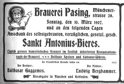 15. April 1907. Der Heute Vormittag Hier Eingetroffene Pfarrer An Der  Protestantischen Gemeinde Pasing, Herr Gustav Brendel, Wurde Am Bahnhof Von  ...